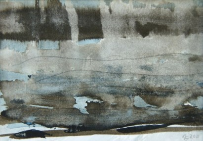 Grösse: 15,5cm x 11,5cm Rahmen 42cm x 31cm Aquarell u. Acryl auf Fabriano-Bütten