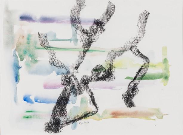 Souche 3 / 2018 Grösse: Bild 38,5 cm x 29 cm mit Passepartout 50 cm x 40 cm Aquarellfarben/Kohle auf Büttenpapier