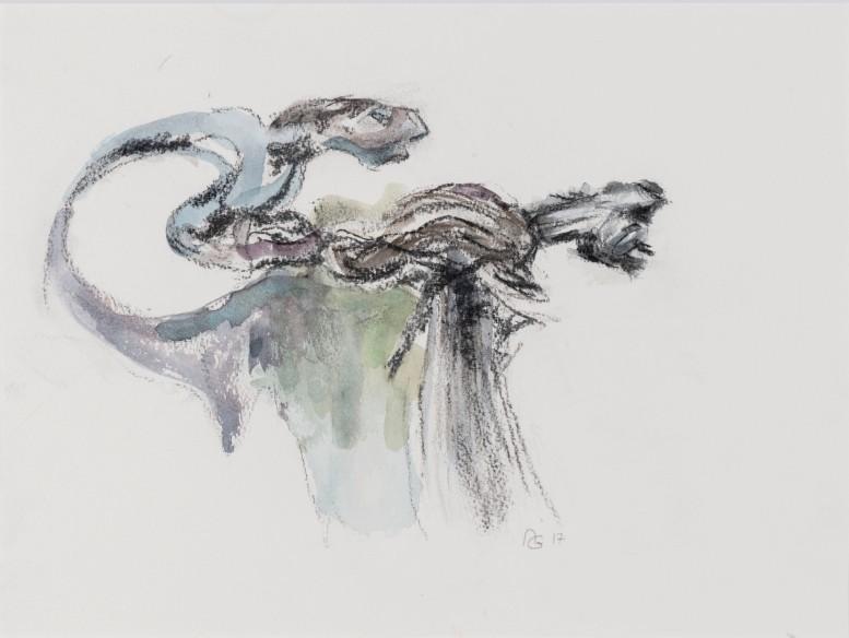 Souche 2 / 2018 Grösse: Bild 38,5 cm x 29 cm mit Passepartout 50cm x 40 cm Aquarellfarben/Kohle auf Büttenpapier